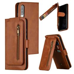 Multifunction 9 Cards Leather Zipper Wallet Phone Case for Xiaomi Mi CC9e - Brown