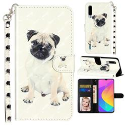 Pug Dog 3D Leather Phone Holster Wallet Case for Xiaomi Mi CC9e