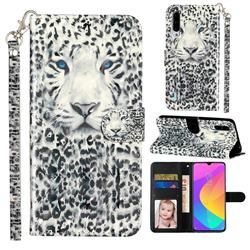 White Leopard 3D Leather Phone Holster Wallet Case for Xiaomi Mi CC9e