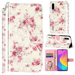 Rambler Rose Flower 3D Leather Phone Holster Wallet Case for Xiaomi Mi CC9e
