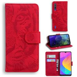 Intricate Embossing Tiger Face Leather Wallet Case for Xiaomi Mi CC9e - Red