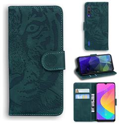 Intricate Embossing Tiger Face Leather Wallet Case for Xiaomi Mi CC9e - Green
