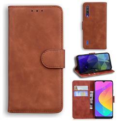 Retro Classic Skin Feel Leather Wallet Phone Case for Xiaomi Mi CC9e - Brown