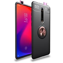 Auto Focus Invisible Ring Holder Soft Phone Case for Xiaomi Redmi K20 / K20 Pro - Black Gold