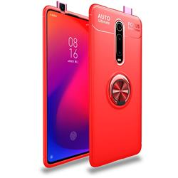 Auto Focus Invisible Ring Holder Soft Phone Case for Xiaomi Redmi K20 / K20 Pro - Red