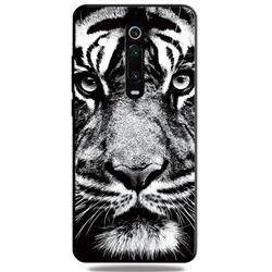 White Tiger 3D Embossed Relief Black TPU Cell Phone Back Cover for Xiaomi Redmi K20 / K20 Pro