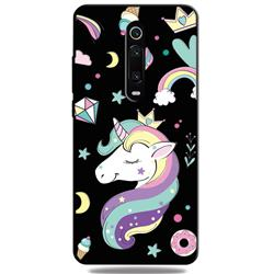 Candy Unicorn 3D Embossed Relief Black TPU Cell Phone Back Cover for Xiaomi Redmi K20 / K20 Pro