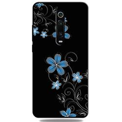 Little Blue Flowers 3D Embossed Relief Black TPU Cell Phone Back Cover for Xiaomi Redmi K20 / K20 Pro