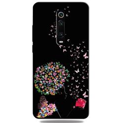 Corolla Girl 3D Embossed Relief Black TPU Cell Phone Back Cover for Xiaomi Redmi K20 / K20 Pro