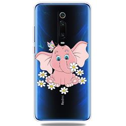 Tiny Pink Elephant Clear Varnish Soft Phone Back Cover for Xiaomi Redmi K20 / K20 Pro