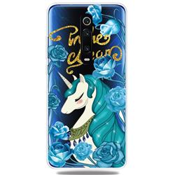 Blue Flower Unicorn Clear Varnish Soft Phone Back Cover for Xiaomi Redmi K20 / K20 Pro