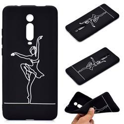 Dancer Chalk Drawing Matte Black TPU Phone Cover for Xiaomi Redmi K20 / K20 Pro