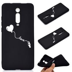 Heart Balloon Chalk Drawing Matte Black TPU Phone Cover for Xiaomi Redmi K20 / K20 Pro