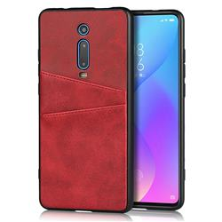 Simple Calf Card Slots Mobile Phone Back Cover for Xiaomi Redmi K20 / K20 Pro - Red