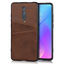 Simple Calf Card Slots Mobile Phone Back Cover for Xiaomi Redmi K20 / K20 Pro - Coffee