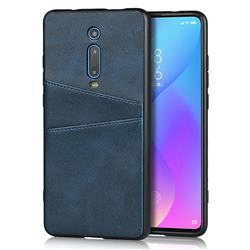 Simple Calf Card Slots Mobile Phone Back Cover for Xiaomi Redmi K20 / K20 Pro - Blue