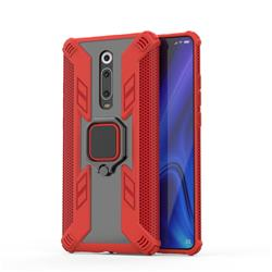 Predator Armor Metal Ring Grip Shockproof Dual Layer Rugged Hard Cover for Xiaomi Redmi K20 / K20 Pro - Red