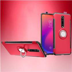 Armor Anti Drop Carbon PC + Silicon Invisible Ring Holder Phone Case for Xiaomi Redmi K20 / K20 Pro - Red