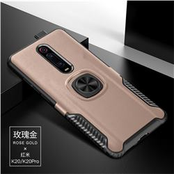 Knight Armor Anti Drop PC + Silicone Invisible Ring Holder Phone Cover for Xiaomi Redmi K20 / K20 Pro - Rose Gold