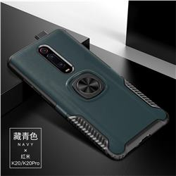 Knight Armor Anti Drop PC + Silicone Invisible Ring Holder Phone Cover for Xiaomi Redmi K20 / K20 Pro - Navy