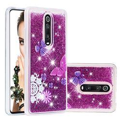Purple Flower Butterfly Dynamic Liquid Glitter Quicksand Soft TPU Case for Xiaomi Redmi K20 / K20 Pro
