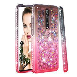 Diamond Frame Liquid Glitter Quicksand Sequins Phone Case for Xiaomi Redmi K20 / K20 Pro - Gray Pink