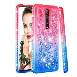 Diamond Frame Liquid Glitter Quicksand Sequins Phone Case for Xiaomi Redmi K20 / K20 Pro - Pink Blue