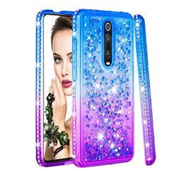 Diamond Frame Liquid Glitter Quicksand Sequins Phone Case for Xiaomi Redmi K20 / K20 Pro - Blue Purple