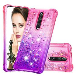 Rainbow Gradient Liquid Glitter Quicksand Sequins Phone Case for Xiaomi Redmi K20 / K20 Pro - Pink Purple