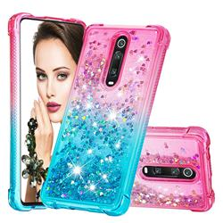 Rainbow Gradient Liquid Glitter Quicksand Sequins Phone Case for Xiaomi Redmi K20 / K20 Pro - Pink Blue