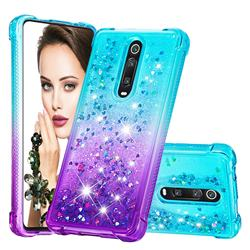Rainbow Gradient Liquid Glitter Quicksand Sequins Phone Case for Xiaomi Redmi K20 / K20 Pro - Blue Purple
