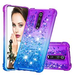Rainbow Gradient Liquid Glitter Quicksand Sequins Phone Case for Xiaomi Redmi K20 / K20 Pro - Purple Blue