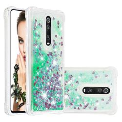 Dynamic Liquid Glitter Sand Quicksand TPU Case for Xiaomi Redmi K20 / K20 Pro - Green Love Heart