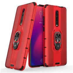 Alita Battle Angel Armor Metal Ring Grip Shockproof Dual Layer Rugged Hard Cover for Xiaomi Redmi K20 / K20 Pro - Red