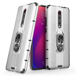 Alita Battle Angel Armor Metal Ring Grip Shockproof Dual Layer Rugged Hard Cover for Xiaomi Redmi K20 / K20 Pro - Silver