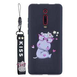 Black Flower Hippo Soft Kiss Candy Hand Strap Silicone Case for Xiaomi Redmi K20 / K20 Pro