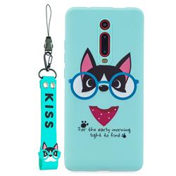 Green Glasses Dog Soft Kiss Candy Hand Strap Silicone Case for Xiaomi Redmi K20 / K20 Pro