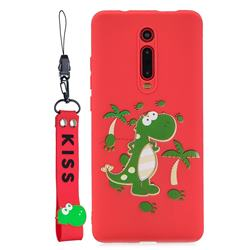 Red Dinosaur Soft Kiss Candy Hand Strap Silicone Case for Xiaomi Redmi K20 / K20 Pro