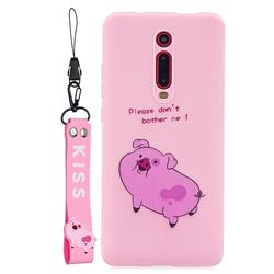 Pink Cute Pig Soft Kiss Candy Hand Strap Silicone Case for Xiaomi Redmi K20 / K20 Pro