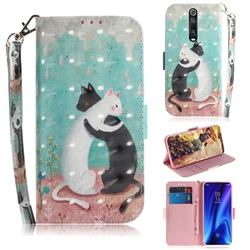 Black and White Cat 3D Painted Leather Wallet Phone Case for Xiaomi Redmi K20 / K20 Pro