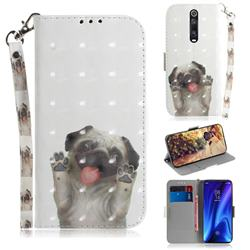 Pug Dog 3D Painted Leather Wallet Phone Case for Xiaomi Redmi K20 / K20 Pro