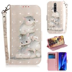 Three Squirrels 3D Painted Leather Wallet Phone Case for Xiaomi Redmi K20 / K20 Pro