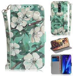 Watercolor Flower 3D Painted Leather Wallet Phone Case for Xiaomi Redmi K20 / K20 Pro