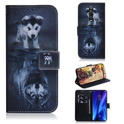 Wolf and Dog PU Leather Wallet Case for Xiaomi Redmi K20 / K20 Pro