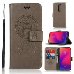Intricate Embossing Owl Campanula Leather Wallet Case for Xiaomi Redmi K20 / K20 Pro - Grey