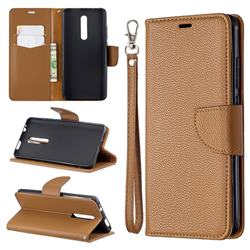 Classic Luxury Litchi Leather Phone Wallet Case for Xiaomi Redmi K20 / K20 Pro - Brown