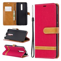Jeans Cowboy Denim Leather Wallet Case for Xiaomi Redmi K20 / K20 Pro - Red