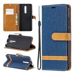 Jeans Cowboy Denim Leather Wallet Case for Xiaomi Redmi K20 / K20 Pro - Dark Blue