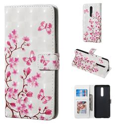 Butterfly Sakura Flower 3D Painted Leather Phone Wallet Case for Xiaomi Redmi K20 / K20 Pro