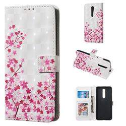 Cherry Blossom 3D Painted Leather Phone Wallet Case for Xiaomi Redmi K20 / K20 Pro